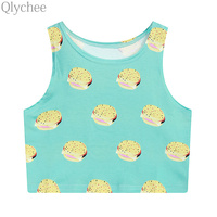 Women Cute Letters Ice Cream Cake Hamburger Print Crop Tops Loose T Shirt Women Summer Beach