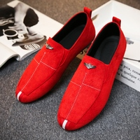 2019 New Trend Mens Casual Loafers Breathable Men's Sneakers Casual Shoes Men Black Red Mens Canvas Footwear Fashion Flats Shoes