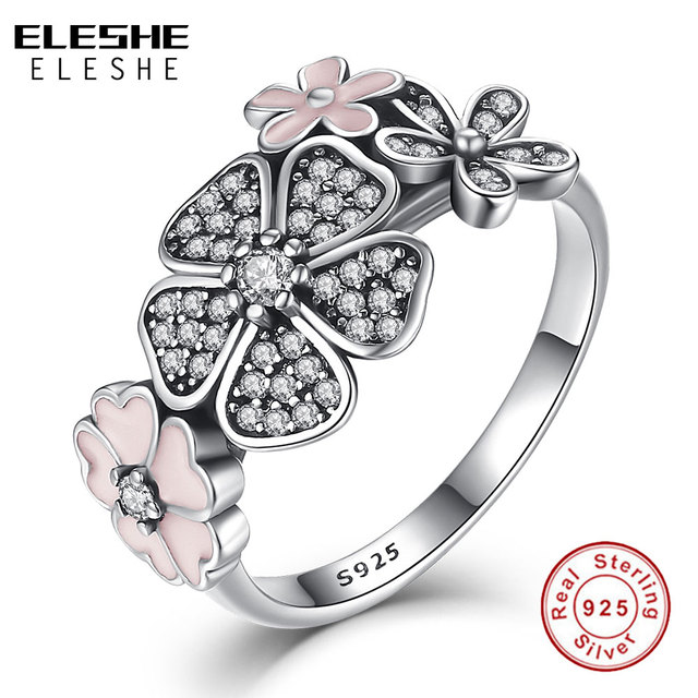 Valentine's Day Authentic 925 Sterling Silver Pink Flower Poetic Daisy Cherry Bl