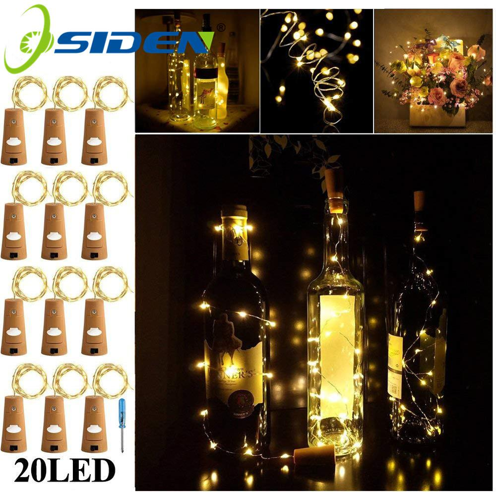 6.5ft 20LED 2M Wine Bottle Lights Cork Battery Powered HolidayGarland Christmas String LightsParty Halloween Wedding Decoracion
