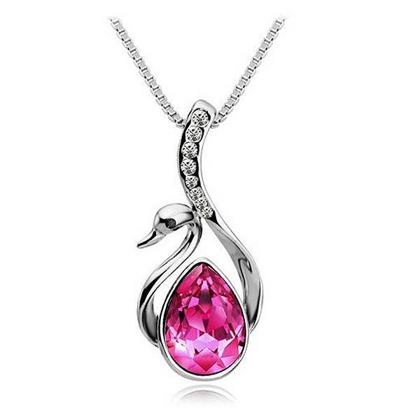 Beautiful Women's Girls Silver Color Crystal Swan Pendant