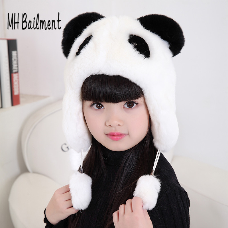 2017 New Real Rabbit Fur Hat Winter Warm Ear Hat For Children Boys Girl 's Whole Animal Lovely Brand Thick Fur Beanies Cap H#26 wool 2 pieces set kids winter hat scarves for girls boys pom poms beanies kids fur cap knitted hats
