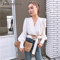 TWOTWINSTYLE Lantern Sleeve Blouse Women V Neck Lace Up Bowknot Draped Short Shirt Female 2018 Autumn Fashion Vintage Clothing