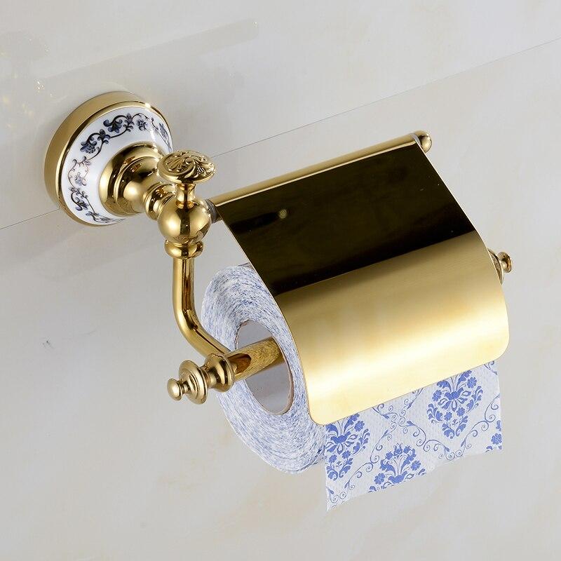 ceramic base golden brass bathroom toilet paper holder. Black Bedroom Furniture Sets. Home Design Ideas