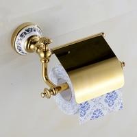 Supports à papier bleu-et-blanc Porcelaine Décoratif Or En Laiton Massif Mur Monté Toilette En Céramique Bath Rouleau De Papier Titulaire XE3395
