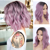 Purple Wig Dark Roots Ombre Wigs For Women Synthetic Lace Front Wig Short Bob Wavy Hair