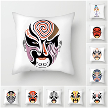 Fuwatacchi Peking Opera Throw Pillow Mask Print Cushion Cover Animal Car Home Bedroom Decorative Pillowcase 45*45