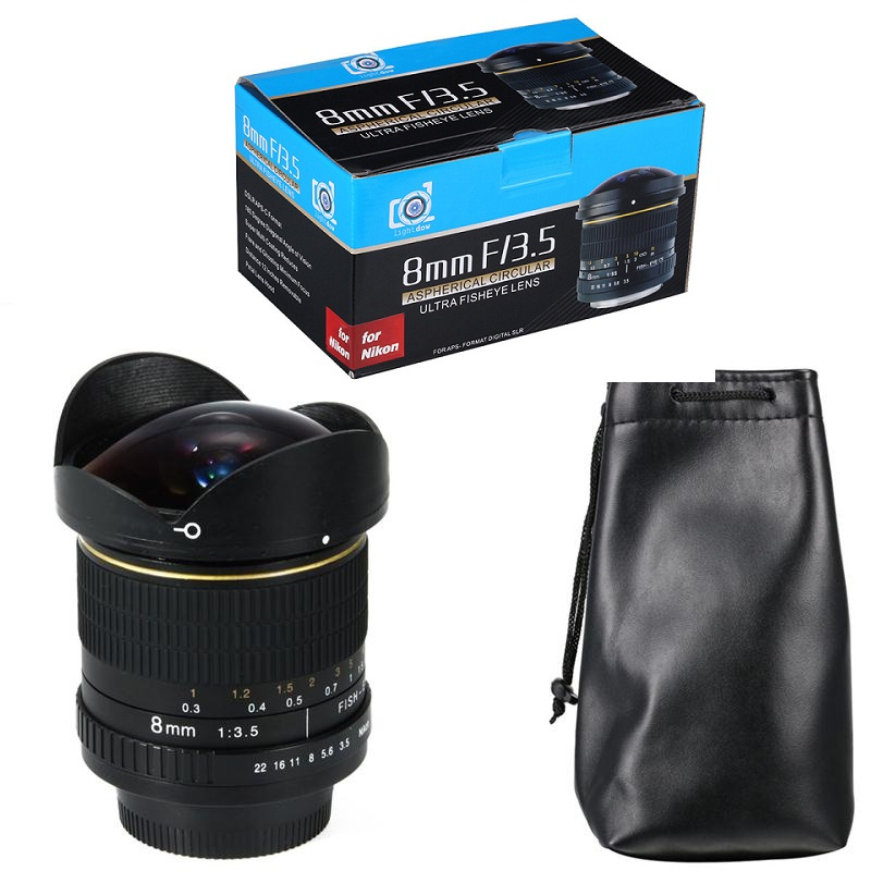 Lightdow 8mm F/3.5 Ultra Wide Angle Fisheye Lens for Nikon DSLR Cameras D3100 D3200 D5200 D5500 D7000 D7200 D800 D700 D90
