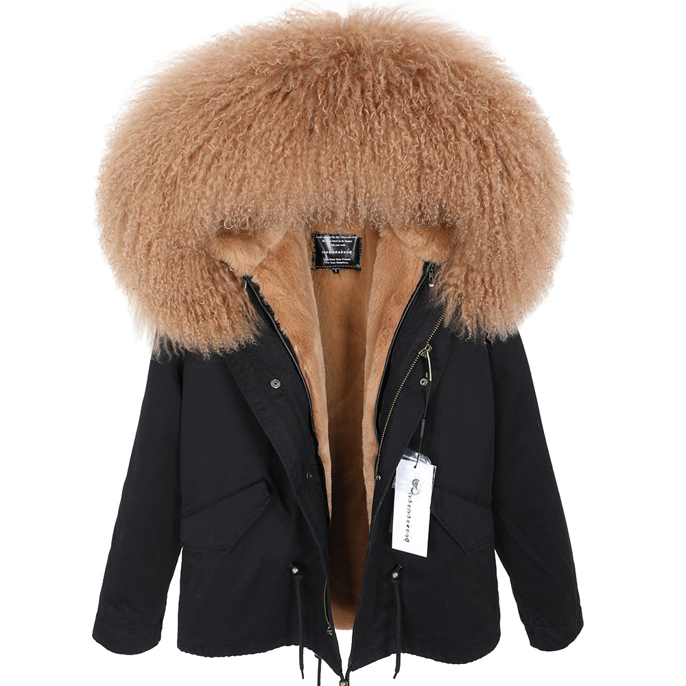 Hot Promo new fashion new Oversized Lamb fur collar Parker Plus velvet Thicken Loose version coat coat May 2020