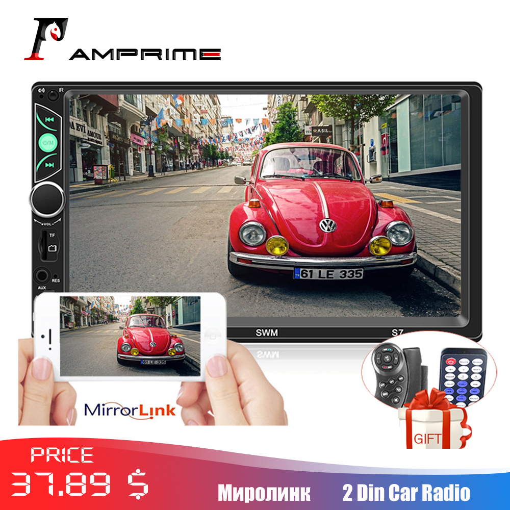AMPrime Car Radio 2 Din 7 HD Autoradio Mirror Link For Android IOS Auto Multimedia Support