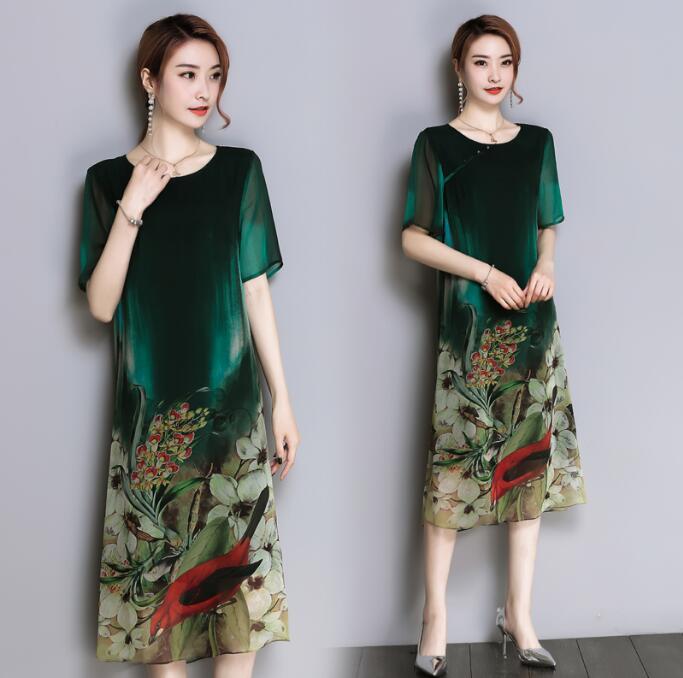 Women Summer Chinese Dress 2018 elegant Plus size clothes vintage dress female loose side slit full print beach party dresses