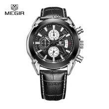Megir mens montres à quartz En Cuir Véritable calendrier mâle étanche montre relogio masculino relojes 2020