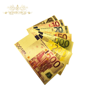 Wishonor 7pcs/lot Color Euro Banknote Sets 5 10 20 50 100 200 500 EUR Gold Banknotes in 24K Gold Fake Paper Money for Collection