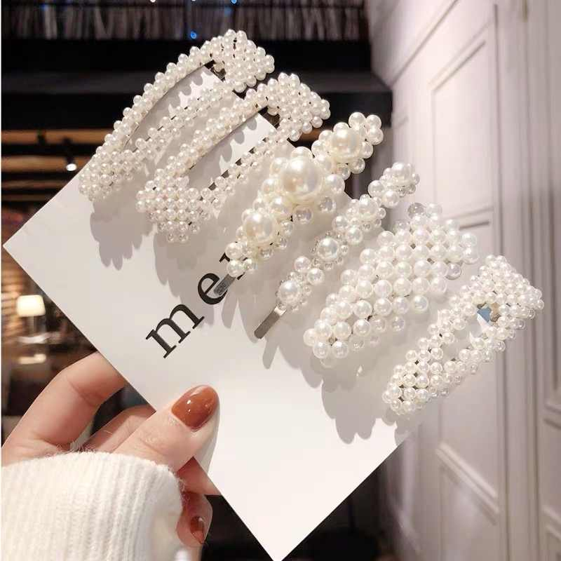 Handmade 2PCS Simulated Pearl Barrettes Hair Clip Silver Gold Big Comb Bobby Pins Hair Accessories Japan Hairgrip Headdress 2019