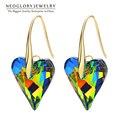 Neoglory made with swarovski elements crystal amor del corazón chapado en oro a largo pendientes de novia para las mujeres regalo de la manera 2017 js9 he1