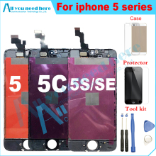 factory lcd screen for iphone 5  iphone 5c screen iphone 5s se lcd touch screen digitizer assembly black white+glass+case+tool цена и фото
