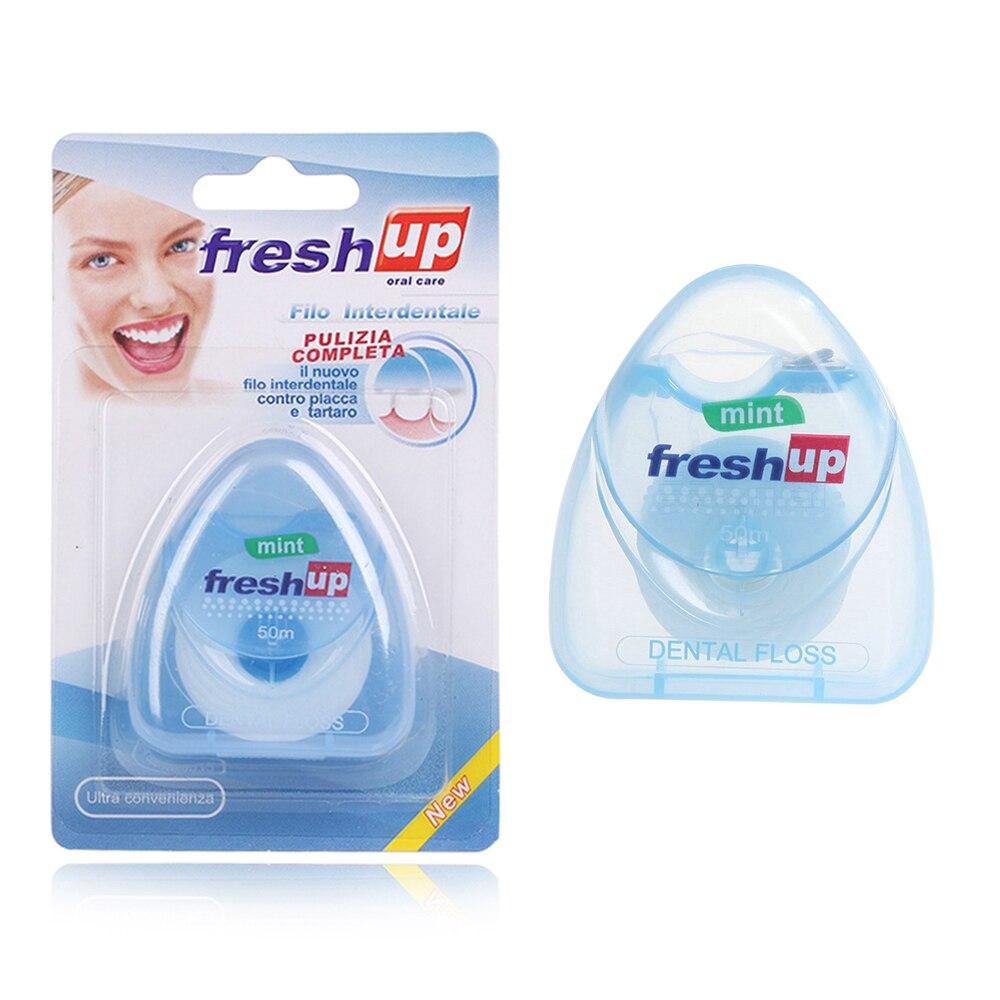 1 шт., 50 м, портативная зубная нить, уход за зубами, очиститель зубов, гигиена здоровья, межзубная щетка, инструмент для гигиены полости рта - Цвет: Синий