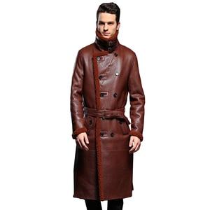 Image 1 - Luxury Mens Sheepskin Coat Genuine Leather Male Formal Casual Winter Long Thick Jacket Sheepskin Shearling Men Fur Outwear 5XL