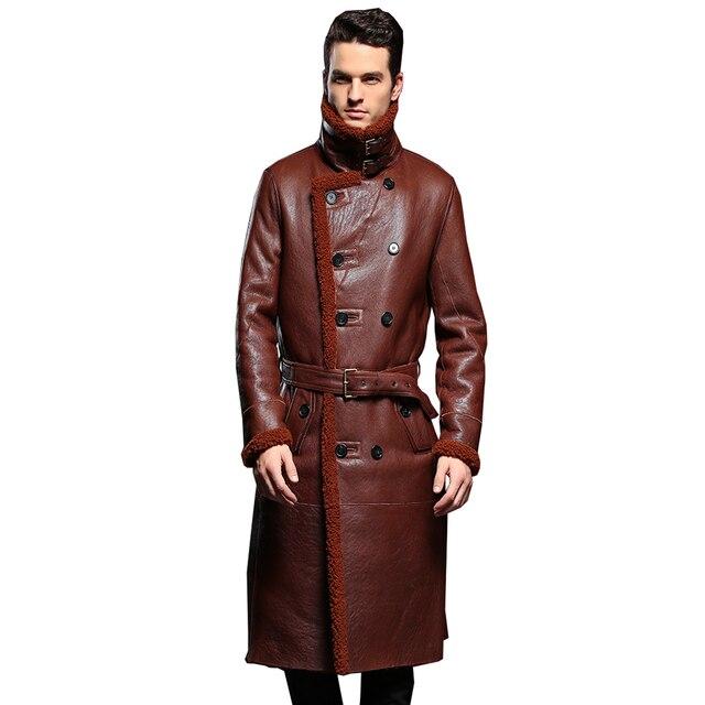 Luxury Mens Sheepskin Coat Genuine Leather Male Formal Casual Winter Long Thick Jacket Sheepskin Shearling Men Fur Outwear 5XL