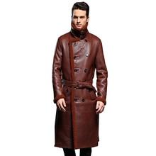 Luxus männer Schaffell Mantel Aus Echtem Leder Männlichen Formalen Casual Winter Lange Dicke Jacke Schaffell Lammfell Männer Pelz Outwear 5XL