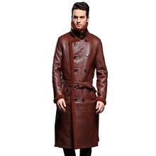 럭셔리 남성 양피 코트 정품 가죽 남성 공식 캐주얼 겨울 긴 두꺼운 재킷 양피 Shearling 남성 모피 Outwear 5XL