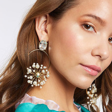 2019 Bohemia Round Gold Silver Color Pearl Flower Crystal Drop Earrings For Women Bohemian Summer Designer Luxury Jewelry