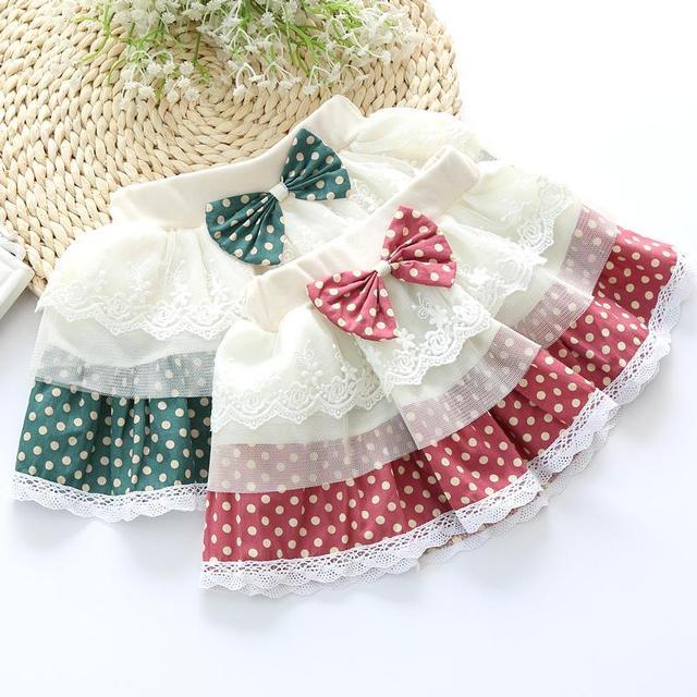 2017 Корейской версии приток ребенка бюст юбки точка лук декоративные кружева шить марлевые юбка детей