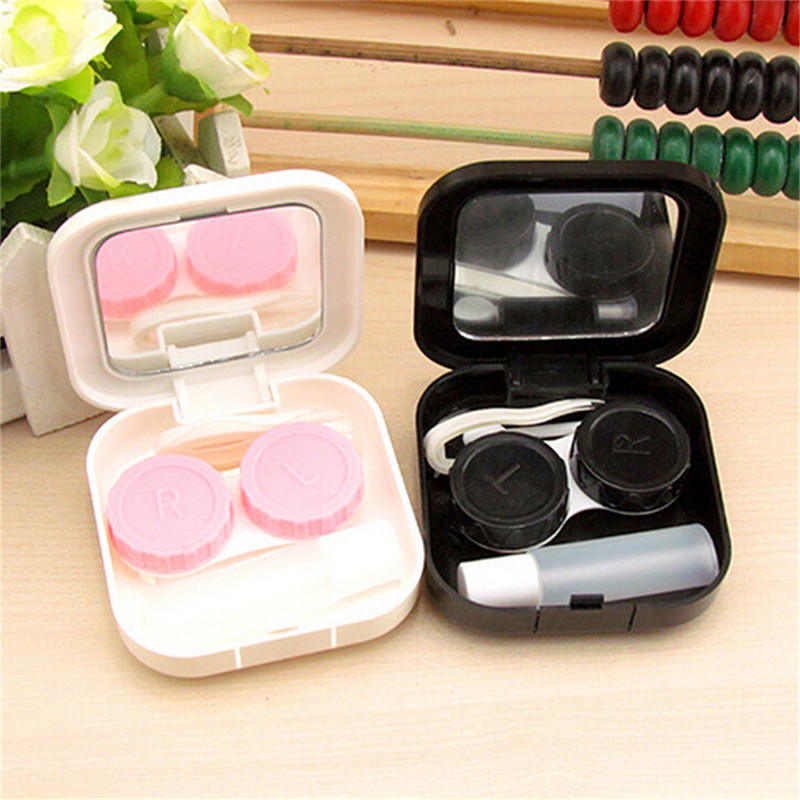 Cute Plastic Cartoon Beard Travel Glasses Contact Lenses Box Travel Contact Lens Case Eyes Care Kit Holder Container Gift Hot