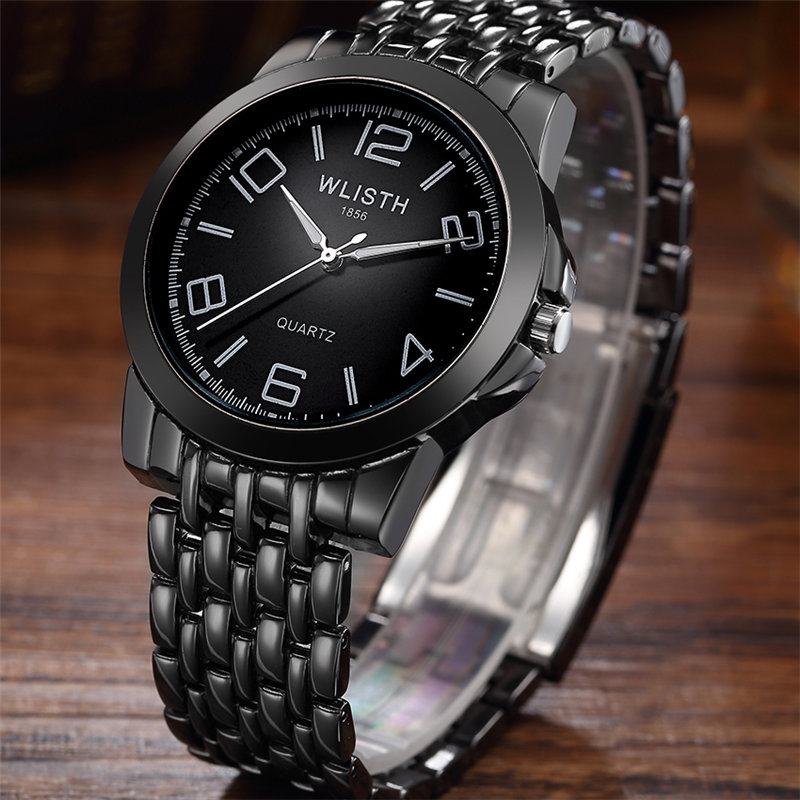 Man Luxury Brand Quartz Wristwatches Mens Top Stainless Steel Clocks Male Black Dial Day And Date Watch For Men fashion man watch silver quartz sport business wristwatches stainless steel mesh clocks male luxury date casual watches for men