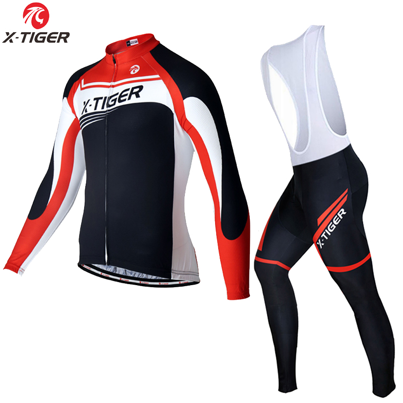 X-Tiger 2017 Long Sleeve Cycling Jersey Sets MTB Bicycle Clothing Mans Racing Bike Wear Clothes Quick dry Maillot Ropa Ciclismo summer x tiger brand short sleeve cycling jersey set quick dry mtb bike cycling clothing bike clothing ropa ciclismo