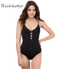 RichKoKo 2017 Black Bodysuit Women Sexy Backless Sleeveless Lace-up Belt Basic Romper Ladies Bikini Style Slim Swimsuit Female