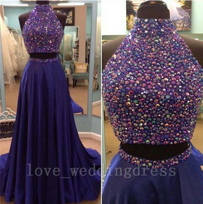 Purple Rhinestone Halter Two Piece Backless   Bridesmaid     Dresses
