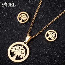 SMJEL Stainless Steel Gold Tree of Life Pendant Necklace Earrings Jewellery Sets