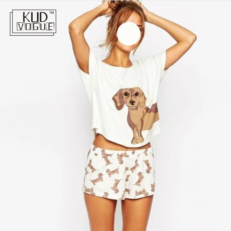 498cd589 Pijamas bonitos para mujer ropa de dormir Dachshund perro estampado 2  piezas conjunto de manga corta ...