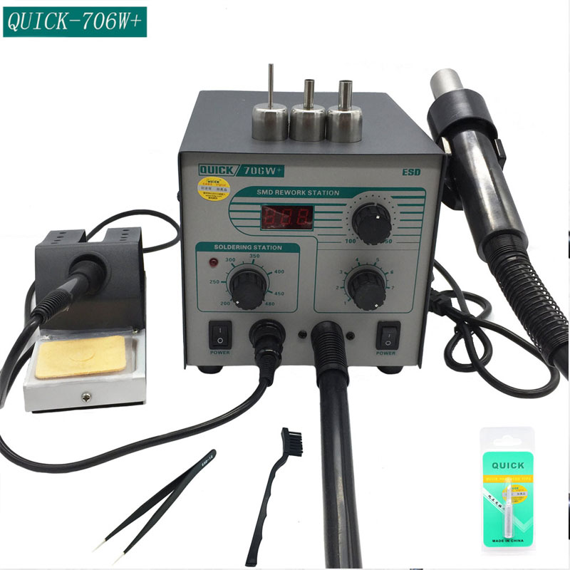 QUICK 706W+ Digital Display Hot Air Gun + Soldering Iron Anti static Temperature Lead free Rework Station 2 in 1 With 3 Nozzles|Soldering Stations| |  - title=