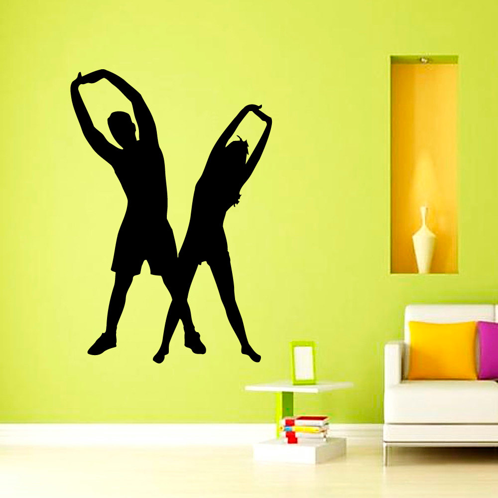 ZOOYOO Woman And Man Gym Fitness Yoga Wall Decals Vinyl Art Home ...
