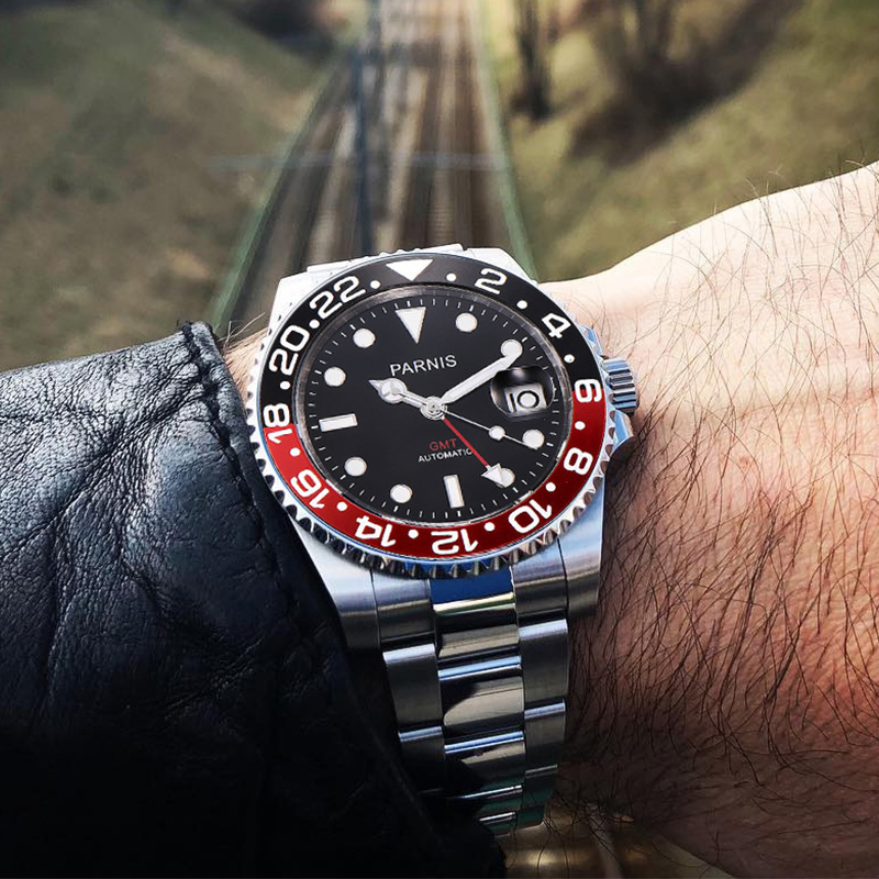 Parnis 40mm часы мужские спортивные механические часы GMT черный, красный Керамика ободок дайвер смотреть автоматический Нержавеющаясталь сапф...