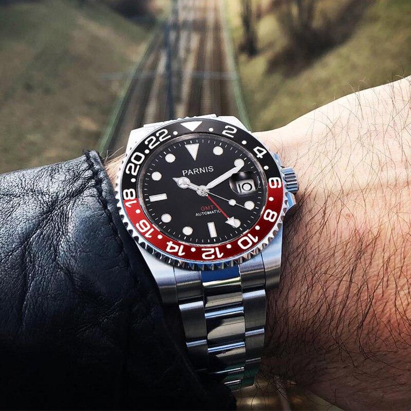 bb2ff9ee0bd relogio masculino Parnis 40mm relogio automatico esportivo GMT Black Red Ceramic  Bezel Mergulhador Relógio Automático de Safira de Aço Inoxidável Homens ...