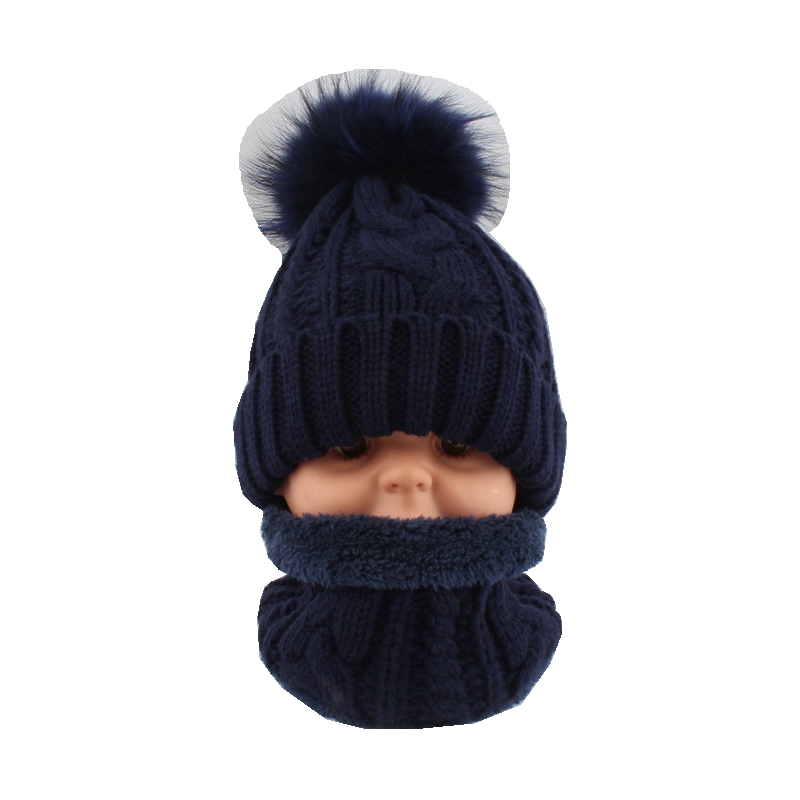 Baby Thick Acrylic Neck Rings And Beanies Hats Sets Child Real 15CM Raccoon Fur Pom Pom  LF5158
