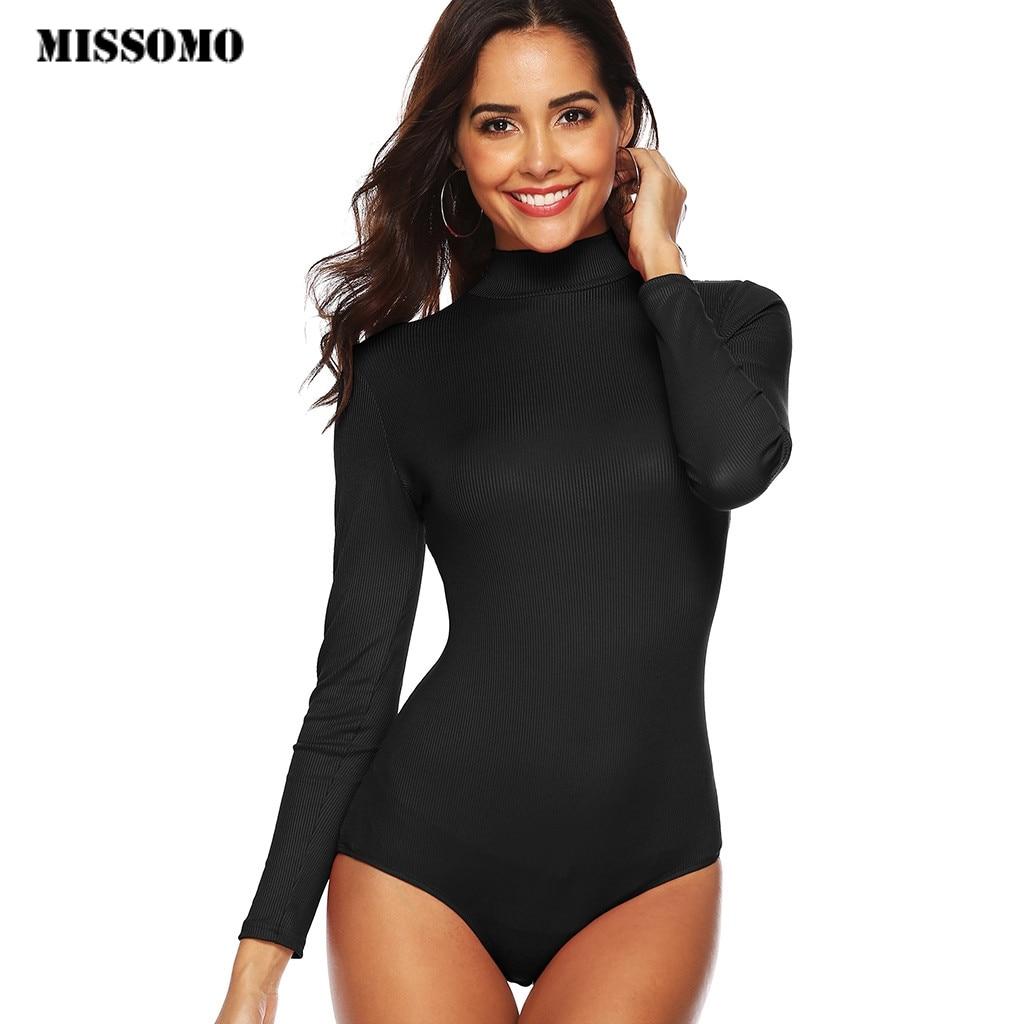 MISSOMO  Women Black Long Sleeve Bodysuit Turtleneck Bodysuit Summer Bodysuit Sexy Bodycon High Waist Romper Body Femee