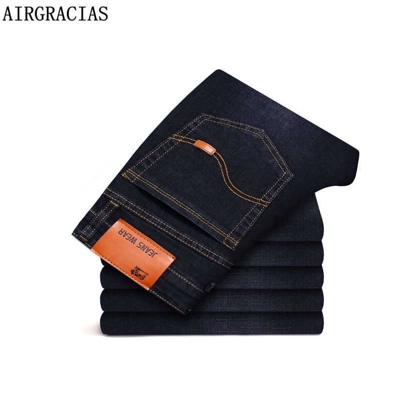 AIRGRACIAS Men Jeans Classic Elastic Straight Long Trousers Pants Cotton Denim Jeans Men 2019 New Plue Size 28-46 Men Jean