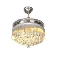 LED Ceiling Fans Light 110 220V Invisible Blades Ceiling Fans crystal Fan Lamp Living Room Bedroom Ceiling fans lamp