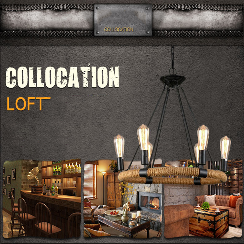 indoor lighting rope lamp edison bulb light fixture Led pendant light Led loft lamps light fixtures nordic vintage pendant lamp