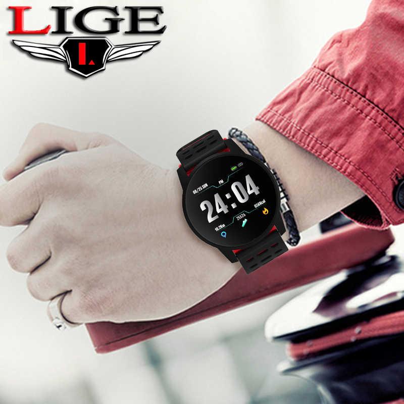 LIGE الرياضة سوار ذكي الرجال النساء IP67 وريستباند ضد الماء معدل ضربات القلب ضغط الدم رصد ساعة عداد خطى ل ios أندرويد