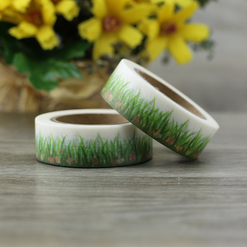 NEW 1X Grass Washi Tape Diy Decorative Scrapbook Planner Masking Tape Adhesive Tape Label Sticker Stationery