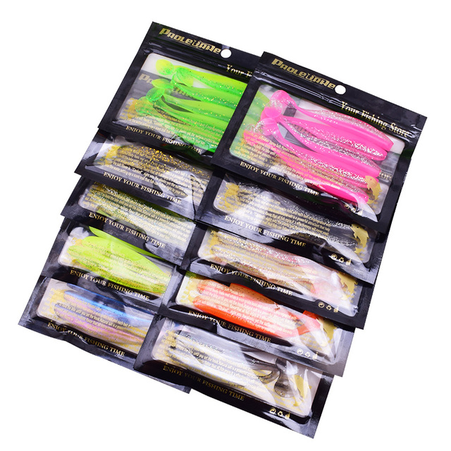Proleurre Jigging Wobblers Fishing Lure 95mm 75mm 50mm shad T-tail soft bait Aritificial Silicone Lures Bass Pike Fishing Tackle 6
