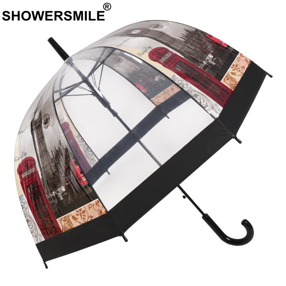SHOWERSMILE Transparent Umbrella Automatic Women Cage Umbrella Long Handle British London Building Ladies Apollo Rain Umbrella