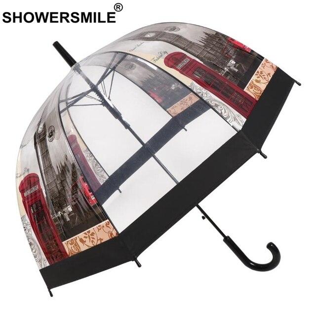 SHOWERSMILE прозрачный зонт автомат Женская портупея длинная ручка с зонтиком в британском стиле вывеска Лондонское здание женские Аполлон Зонт от дождя