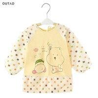 OUTAD Baby Cartoon Bibs Waterproof Oversleeve Long Sleeve Apron Toddler Feeding Bibs Burp Cloths Soft Children