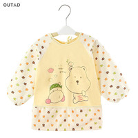 OUTAD Baby Cartoon Bibs Waterproof Oversleeve Long Sleeve Apron Toddler Feeding Bibs Burp Cloths Soft Children